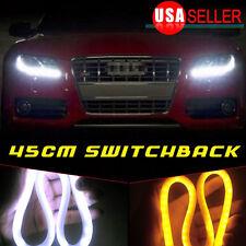 2 X 12V DRL LED Strip White Amber Tube Daytime Headlight For Audi Style 45CM