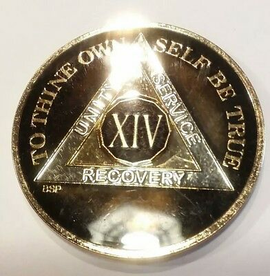 """Gold Silver 1⅜/"""" Traditional Size Recovery Chip XII 12 Year AA Coin Black"""