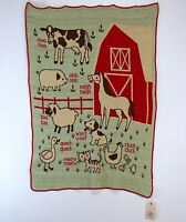 Vermont Country Store Kids Blanket Farmyard Barnyard Sounds Recycled Yarn