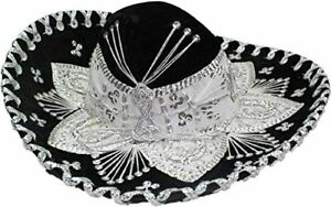 Authentic-Mariachi-Sombrero-Hat-Black-with-Silver-Accents