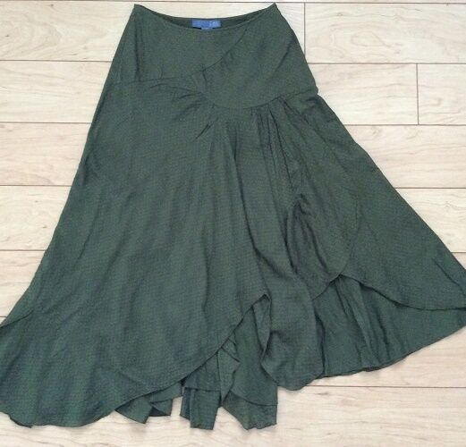 Ruffled Cotton Turn Around Skirt By Lil Size 0, 2 Green NW ANTHROPOLOGIE Tag