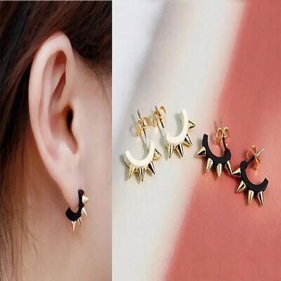 Trendy Punk Men Women Gothic Circle Rivet Spike Earring Pin Piercing Ear Stud