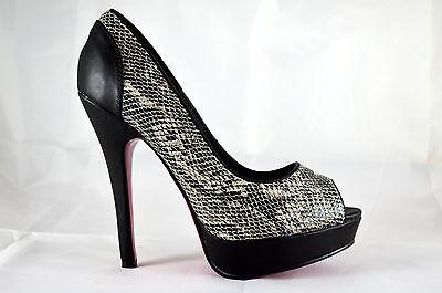 Elegante Damen Abendschuhe Pumps High Heels Peep Toe Gr.36-41 Schwarz A.8287