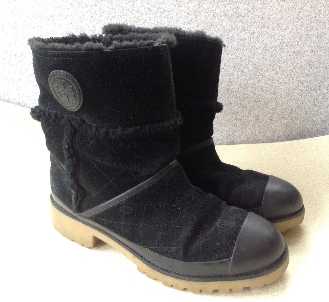 Tory Burch Women's Boots Size 9M  Boughton  Black Suede Fur Lined Chunky Heel