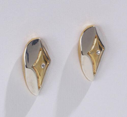 Paar Trend Ohrclips Legierung gold silber funkelnder Glas Strass kristall Neu