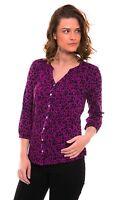 Per Una NEW M&S women's purple black floral jersey blouse shirt top sizes 10-22