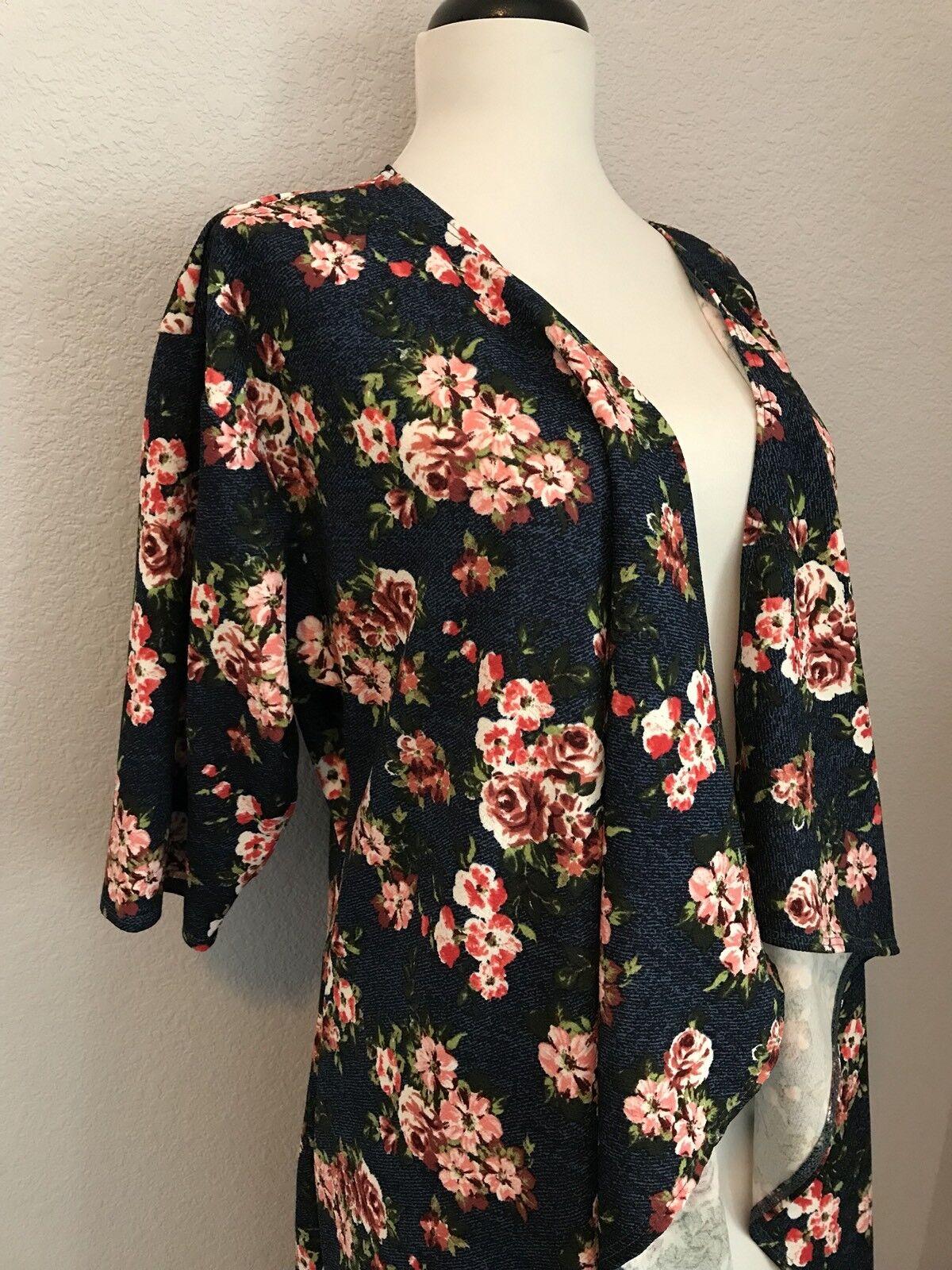 LulaRoe Shirley Kimono Small NWT Navy Blau Rosa Rosa Rosas Floral