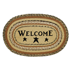 VHC Brands 10120 Kettle Grove Jute Rug Oval Stencil Welcome 20x30