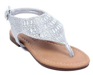 silver color rhinestones casual slingback youth girls kids