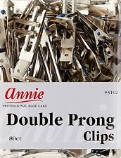 Annie Double Prong Clips Hair Pins Wave Clamp Accessory Claw Metal 80CT #3192