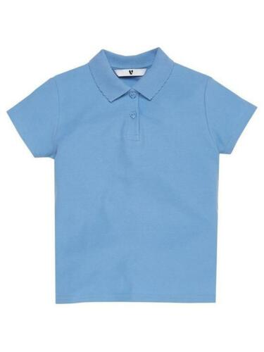 Girls 100/% cotton blue polo shirt school uniform ages 3 4 5 6 9 and 10 new