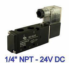 """1/4"""" Pneumatic 4 Way 2 Position Electric Directional Control Air Valve 24V DC"""