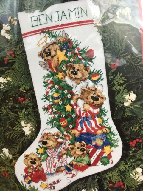10a41d12d Dimensions Holiday Needlepoint Christmas Stocking Angel Bears Kit 9096