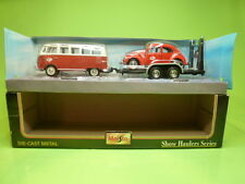 MAISTO 32913 VW VOLKSWAGEN T1 VAN SAMBA BUS AND TRAILER BEETLE KAFER - 1:25