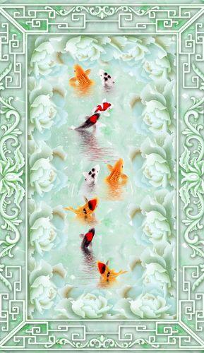 3D Grün Jade Goldfish Floor WallPaper Murals Wall Print Decal 5D AJ WALLPAPER