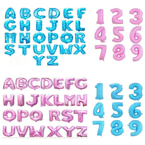 """Rose Gold Silver 16/"""" Alphabet A-Z Letter Number Foil Balloons NAME PARTY WEDDING"""