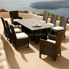 Modern 9 Piece Luxury Dining Wicker Patio Outdoor Rattan Furniture Set