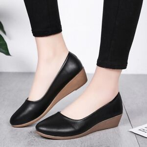 Women-Boat-Shoes-Casual-Wedge-Heel-Ballet-Slip-On-Flats-Loafers-Single-Shoes-New