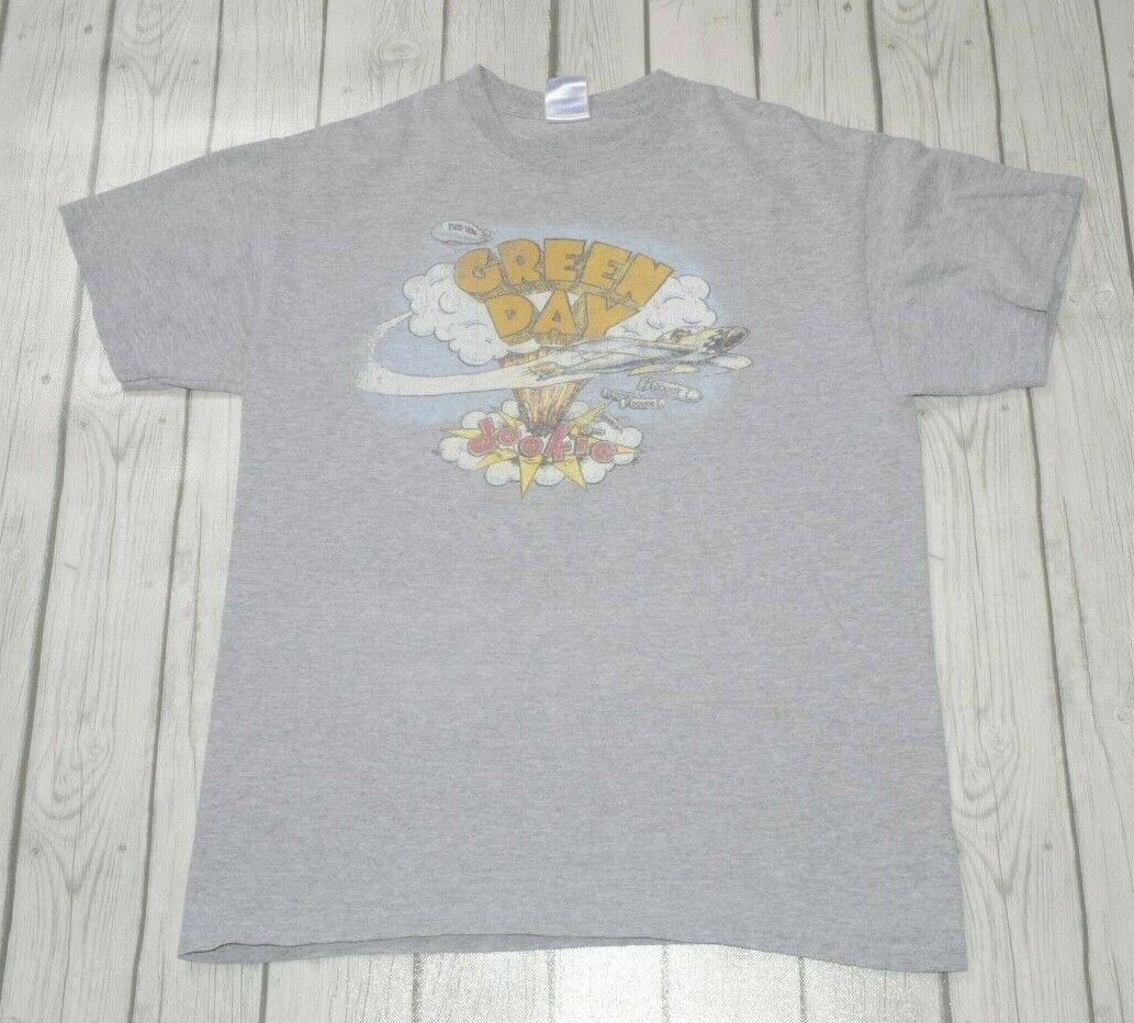 Official Green Day T Shirt Dookie album distressed band logo new Mens Grey Size