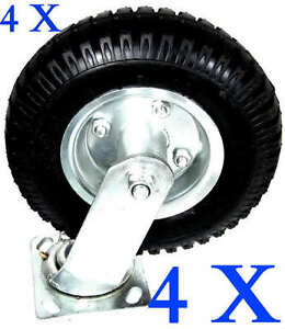 4-PCS-8-034-AIR-TIRE-CASTER-WHEEL-SWIVEL-BASE-WITH-BEARING-DOLLY-UTILITY-MOVING-CAR