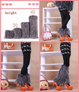 new-Fashion-faux-fur-funky-leg-warmers-boots-cover-club-dance-shoes-cover-black