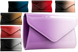New Hard Compact Faux Patent Leather Ladies Evening Party Clutch Bag
