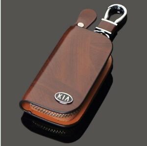 KIA Leather Car Key Keychain Fob Case Holder Zipper Cover High Quality Brown