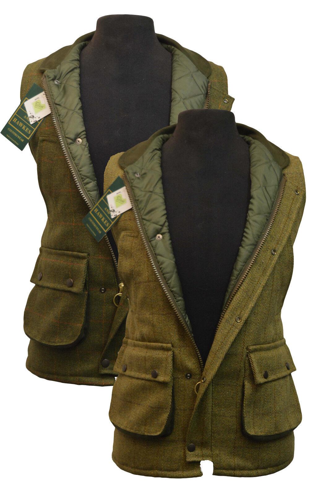 Country TWEED waistcoat GILET TEFLON NEW QUILTED Bodywarmer LIGHT DARK SAGE