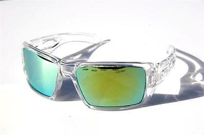 Men Oversized Polarized Sunglasses clear frame with green mirror lens skiing
