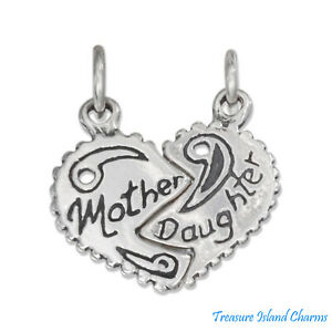 "SILVER  925 /""MOTHER DAUGHTER HEART/"" CHARM//PENDANT"