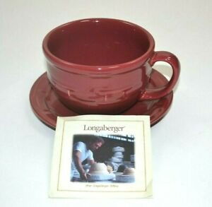 Longaberger Pottery Woven Traditions Traditional Red Cup and Saucer