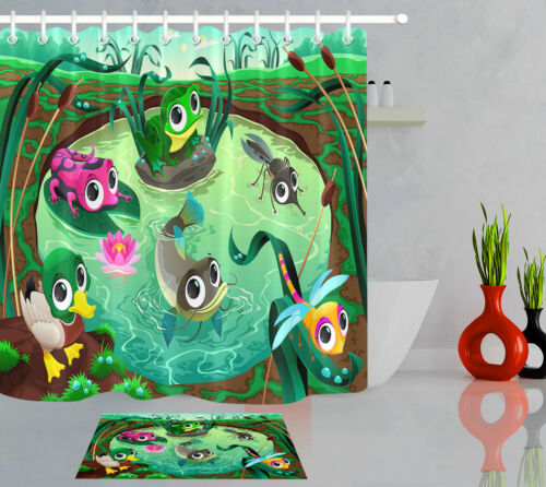 "72X72/""Cartoon Fish Insect Child Kids Bathroom Decor Fabric Shower Curtain Set"