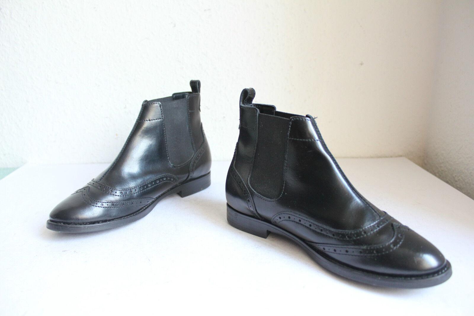 Esprit Chelsea Budapester Boots Stiefeletten Echt Lackleder Schwarz Eu:36,5-37