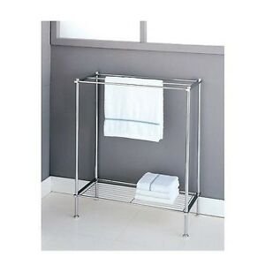 Details About Bathroom Towel Rack Free Standing Chrome Holder Bar Shelf Bath Storage Organizer