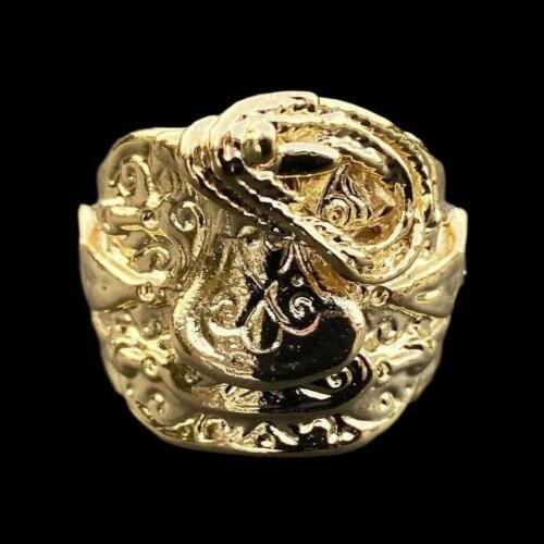 Rolled Gold gf Saddle Ring Mens Boys Big Adjustable stamped 22k