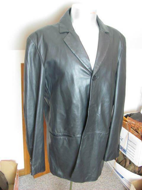 EMPORIO ARMANI Men's Black Leather Jacket Coat Size 44-46 Large BEAUTIFUL