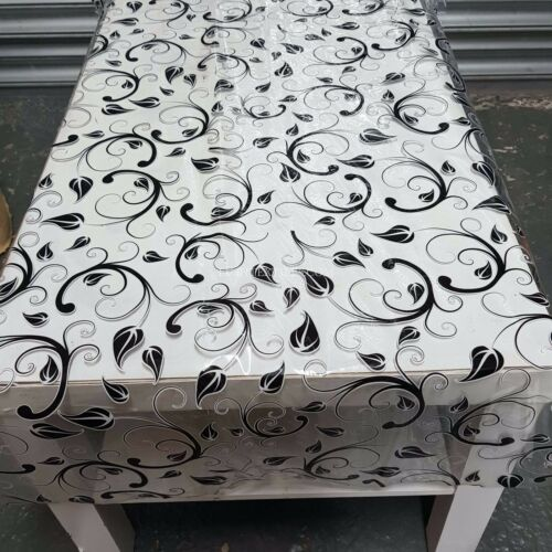 Plastic Table Covering Tablecloth Floral Clear Oilcloth PVC Fabric Kitchen 140cm