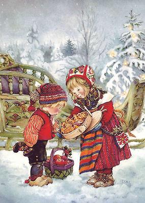 Lisi MARTIN~ LITTLE GIRL /& BOY SWEETS Apple Christmas tree ART KIDS postcard