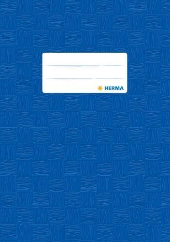 1x HERMA Heftschoner DIN A5 aus PP dunkelblau gedeckt Bast Buchschoner Einband