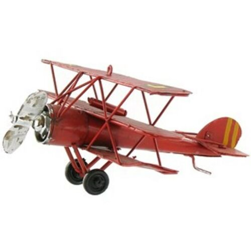 Vintage metal RED Tri-Level Plane great gift collectible.