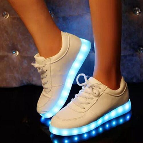 Unisex 7 LED Light Lace Up Luminous Sportswear Fashion Simulation Leather Shoes