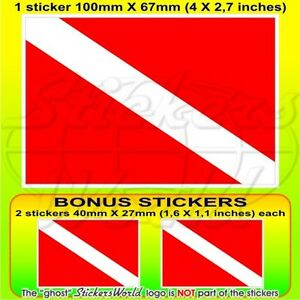 SCUBA-DIVE-DOWN-Diver-Flag-DIVING-Vinyl-Sticker-Decal-100mm-4-034-x1-2-BONUS