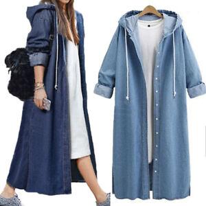 Women-Single-Jean-Long-Hood-Coat-Open-Breasted-Sweatshirt-Jacket-Fashion-Outwear