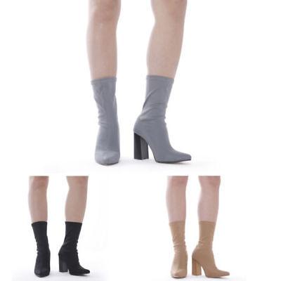 Nuevas señoras para mujer Bloque Talón Elástico Celebridad Lycra Alto Botas al Tobillo Calzado