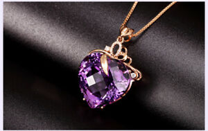 Korean-14K-Rose-Gold-Plated-Amethyst-Heart-Pendant-Necklace-UK-Seller