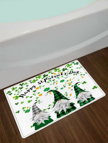 St Patrick/'s Day Gnome Shamrock Lucky Clovers Shower Curtain Set Bathroom Decor