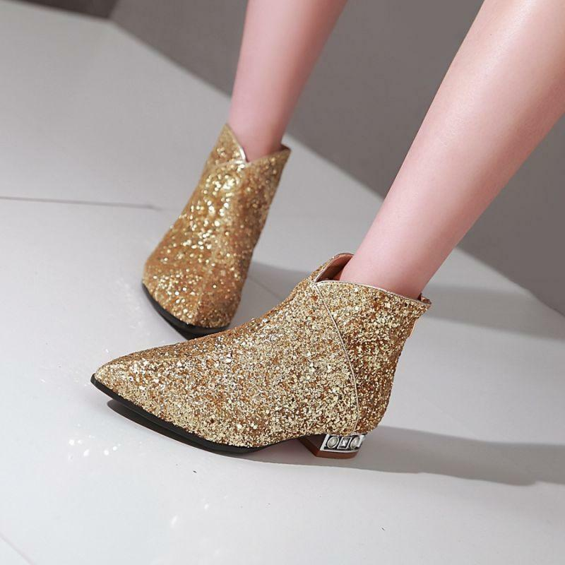 Womens Bingbing Sequins Pointy Toe Flats gold Back Zip Ankle Boot shoes Clubwear