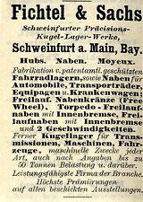 Fichtel & Sachs Schweinfurt SILURO-aperto STORICA MOZZO pubblicità con loghi di 1908