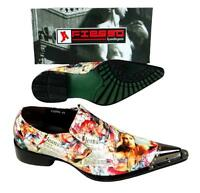 Fiesso Men's Lady Magazine Print Pointed Metal Toe Slip On Shoes Fi 6794