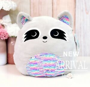 """*SALE* Squishmallow 12"""" Max the Grey Raccoon W/Flip Sequin NEW HTF LTED Plush"""